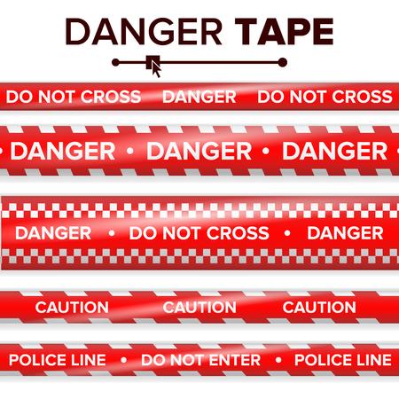 Gefahrenband-Vektor. Rot und weiß. Warnbandstreifen. Realistische Plastik Polizei Gefahr Bänder Set isoliert Illustration Standard-Bild - 83574473