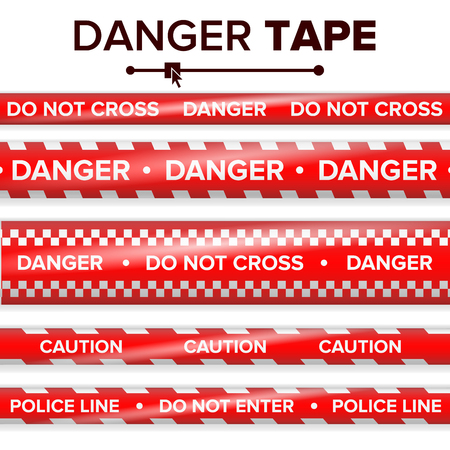 Gevaar Tape Vector. Rood en wit. Waarschuwing Tape Strips. De realistische Plastic Banden van het Politiegevaar plaatsen Geïsoleerde Illustratie Stock Illustratie