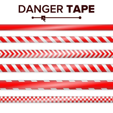 Gefahrenband-Vektor. Rot und weiß. Warnbandstreifen. Realistische Plastik Polizei Gefahr Bänder Set isoliert Illustration Standard-Bild - 83574475
