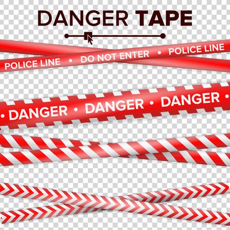 Betreten Sie nicht, Gefahr. Sicherheitsquarantäne-rote und weiße Bänder. Isoliert auf transparentem hintergrund. Vektor-Illustration. Standard-Bild - 83574476