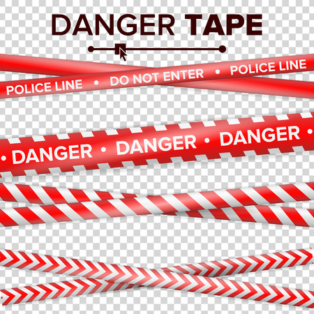 Do Not Enter, Danger. Security Quarantine Red And White Tapes. Isolated On Transparent Background. Vector Illustration. Stock Vector - 83574476