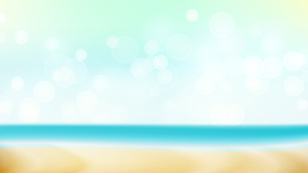 profound: Summer Beach Vector Background. Blur Sea Coast. Outdoor Summer Vacation. Cruise Illustration