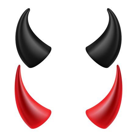 Devil Horns Set Vector Goed Voor Halloween Feest Satan Hoorns