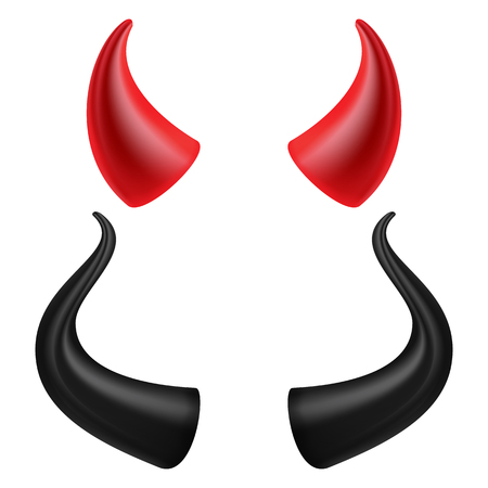 Devils Horns Vector. Realistic Red And Black Devil Horns Set. Isolated On White Illustration.