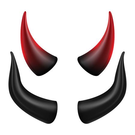마 귀 뿔 벡터입니다. 할로윈 파티에 좋습니다. 사탄 뿔 기호 격리 그림입니다.