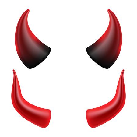 Diabeł Rogi Wektor. Demon Or Szatana Rogale Symbol, Znak, Ikona. Odosobniony Ilustracje wektorowe