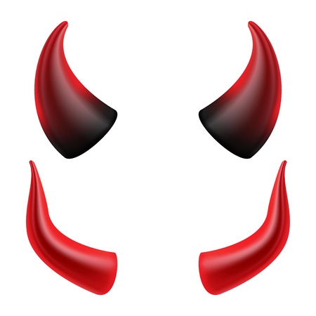 Vettore di corna del diavolo. Simbolo di corni demone o Satana, segno, icona. Isolato Vettoriali