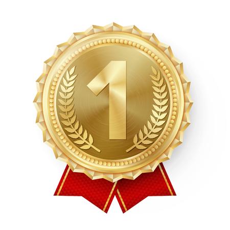 Vector de medalla de oro. Golden 1st Place Badge. Deporte Juego Golden Challenge Award. Listón rojo. Aislado. Rama de olivo. Ilustración realista