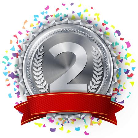 Silver Medal Ribbon.  イラスト・ベクター素材
