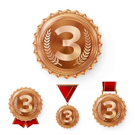 Champion Bronze Medals Set Vector. Metal Realistic 3rd Placement Winner Achievement. Number Three. Round Medal With Red Ribbon. Illustration
