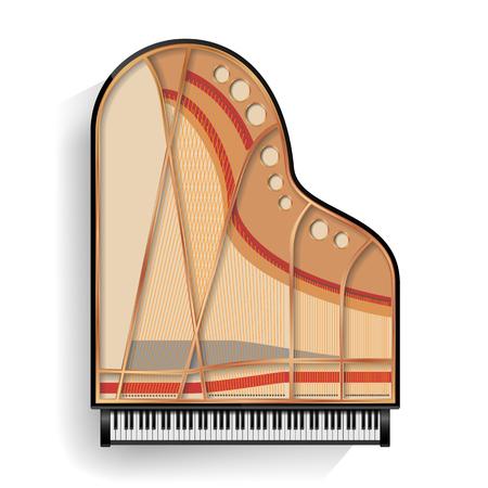 noir grand piano icône ouverte vecteur avec l & # 39 ; ombre. illustration . collection isolé .
