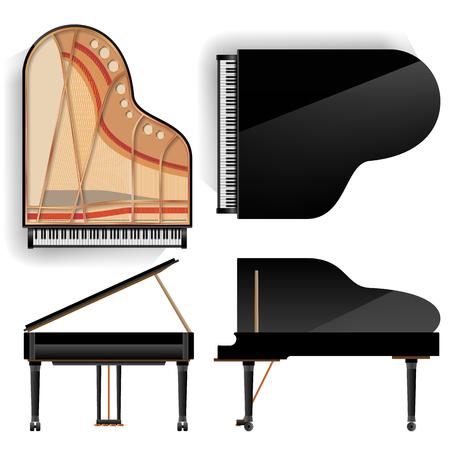 Wektor zestaw fortepianu. Realistyczny czarny fortepian widok z góry iz tyłu. Otwarte i zamknięte. Ilustracja na białym tle. Instrument muzyczny.