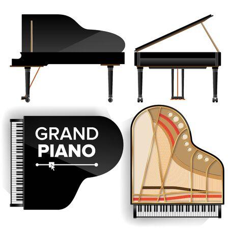 noir grand piano icône set illustration avec ombre. illustration de l & # 39 ; alcool. isolé . vue arrière et arrière
