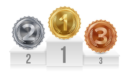 Pedestal With Gold, Silver, Bronze Medals Vector. White Winners Podium. Number One. 1st, 2nd, 3rd Placement Achievement Concept. Isolated Illustration.