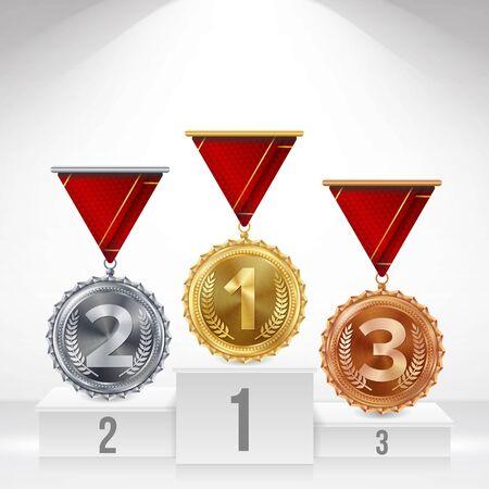 金、銀、銅メダル ベクトルの台座。白いの受賞者の表彰台。ナンバーワン。第 1、第 2、第 3 の配置達成概念。孤立した図。  イラスト・ベクター素材