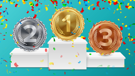 Winner Pedestal With Gold, Silver, Bronze Medals Vector. White Winners Podium. Number One. Red Ribbon, Olive Branch, Confetti. Competition Trophy. Isolated Illustration.