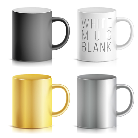 tea hot drink: Realistic Cup, Mug Set Vector. White, Black, Silver, Chrome, Golden Cup Isolated On White Background. Classic Mug Template With Handle Illustration. For Business Branding