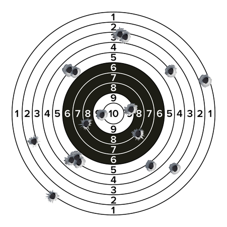 Target gun with bullet holes Illustration