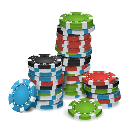 Gambling Chips Stacks Vector. 3D Realistic. Poker Game Chips Isolated On White Background For Online Casino, Gambling Club, Poker, Billboard.
