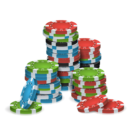 Poker Chips Stacks Vector. Plastic. White, Red, Black, Blue, Green Casino Chips Illustration. Poker Game Chips Isolated On White Background Illustration.