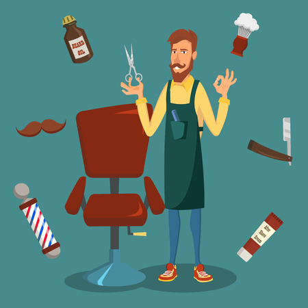 Cute Barber Vector. Cartoon Happy Hipster Barber Man. Professional Barber Ready To Do A Trendy Haircut.