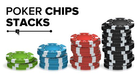 Casino Chips Stacks Vector. Realistic Colored Online Poker Game Chips Set Isolated Illustration.