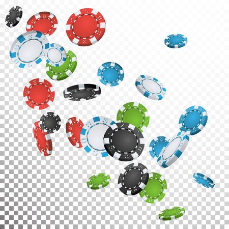 Gambling Poker Chips Rain Vector. Realistic Casino Chips Explosion Falling Down. Transparent Background. Symbol Wealth, Profit. Cash Winning Prize Money Concept Illustration Ilustrace
