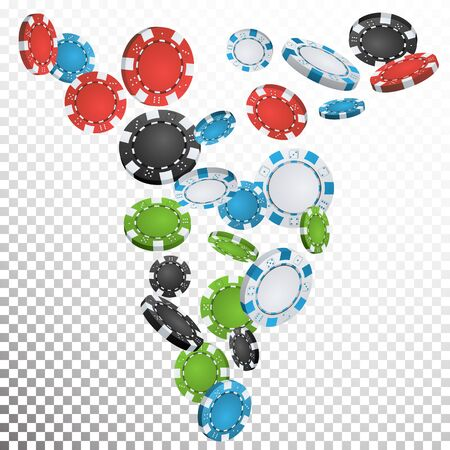 Falling Casino Chips Vector. Flying Realistic Gambling Poker Chips Explosion. Transparent Background. Casino Prize Money Fortune Flow Jackpot.