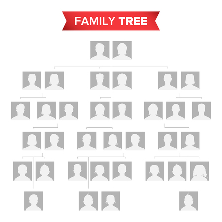 Vettore in bianco dell'albero genealogico. Albero genealogico con icone predefinite di persone.