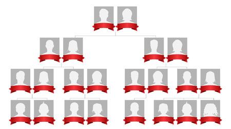 Vector albero genealogico. Albero della storia della famiglia in bianco con la gente di Avatar.