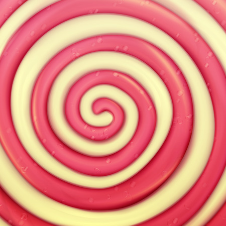 Classic Lollipop Vector Background. Round Red, Yellow. Realistic Spiral Illustration Illustration