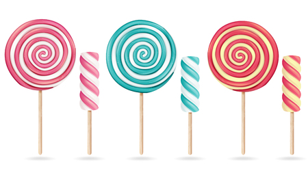 Round Pink Lollipop Set Vector. Cream Marshmallow On Stick. Sweet Realistic Candy Spiral Isolated Illustration Illustration
