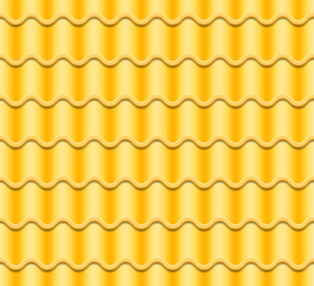 Yellow Corrugated Tile Vector. Seamless Pattern. Classic Ceramic Tiles Cover. Fragment Of Roof Illustration.