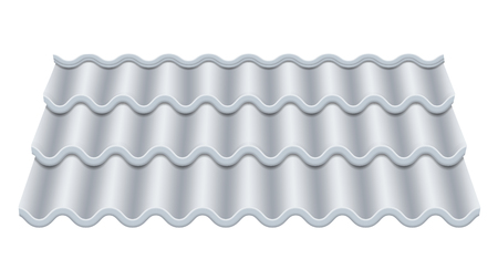 Grey Corrugated Tile Vector. Classic Ceramic Tiles Cover. Fragment Of Roof Illustration. Illustration