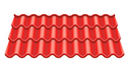 Red Corrugated Tile Vector. Element Of Roof. Ceramic Tiles. Fragment Of Roof Illustration.