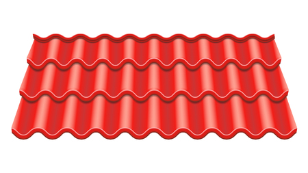 Red Corrugated Tile Vector. Element Of Roof. Ceramic Tiles. Fragment Of Roof Illustration.