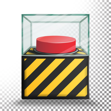 Panic Button Isolated Vector. Red Alarm Shiny Button. Transparent Background Illustration Illustration