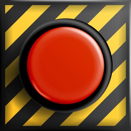 Red Panic Button Sign Vector. Red Alarm Shiny Button Illustration 向量圖像