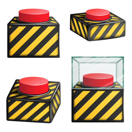 Red Panic Button Set Isolated Vector. Red Alarm Shiny Button Illustration
