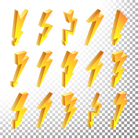 3D Lightning Icons Vector Set. Cartoon Yellow Lightning Isolated Illustration. Flash Pictograms. Lightning Bolt Icons