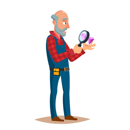 Jeweler Diamond Expert Vector. Jewels And Diamonds. Man Examines Faceted Diamond In Workplace. Cartoon Character Illustration