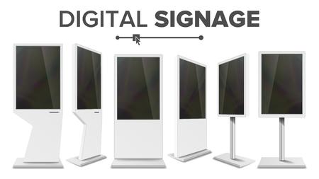 Digital Signage Touch Kiosk Set Vector. Display Monitor. Multimedia-standaard. LCD High Definition Digital Signage. Voor restaurants, advertentieprojecten. Geïsoleerde illustratie