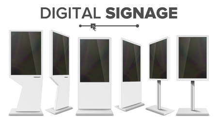 Digital Signage Touch Kiosk Set Vector. Display Monitor. Multimedia Stand. LCD High Defintion Digital Signage. For Restaurants Advertising Projects. Isolated Illustration Illustration