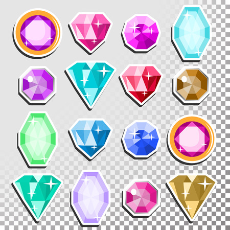 Gems Isolated Vector. Precious Stones Shimmer And Shine. Multicolored Round Brilliant Cut, Top View. Isolated Illustration