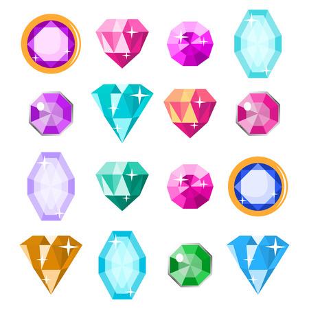 violet red: Precious Stones Set Vector. Cartoon Jewels, Precious Diamonds Gem. Isolated Illustration