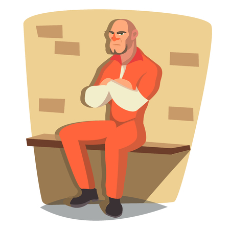 Prisoner Man Vector. Criminal Man Arrested And Locked. Isolated Flat Cartoon Character Illustration Illustration