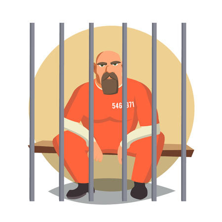 Prisoner In Jail Vector. Gangsta Man Arrested And Locked. Flat Cartoon Illustration Illustration