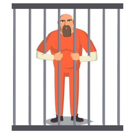 Prisoner Man In Pokey-Vektor. Gesetzloser Räuber verhaftet und gesperrt. Zeichentrickfigur Illustration
