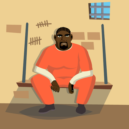 Prisoner Man Vector. Criminal Man Arrested And Locked. Isolated Flat Cartoon Character Illustration Ilustração