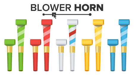 Party Horn Set Vector. Color Penny Whistle. Top View. Isolated On White Illustration Vectores